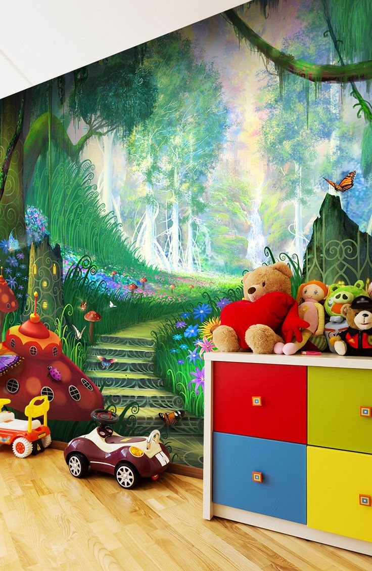Fun children's wallpaper from Wallsauce.com's designer collection. Create the bedroom of their dreams with this fantastic kids wallpaper featuring a fun fantasy land. Prices shown are per square foot. Shipping worldwide