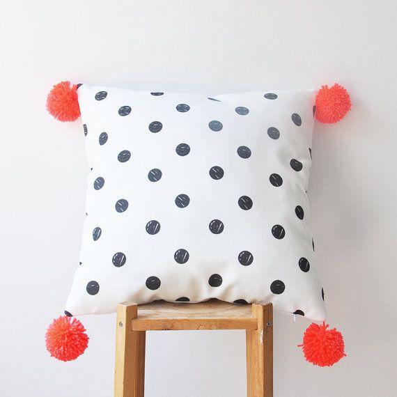 "NEW! Decorative Pillow, Modern Nursery Pillow, Geometric Kids Pillow, Throw Pillow, Neon Orange Pompoms 16"" x 16"""