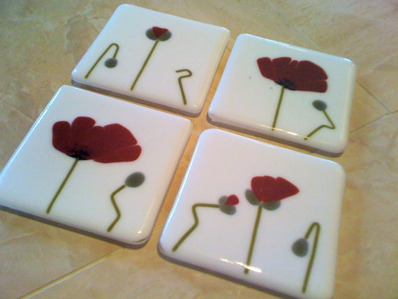 Poppies! Coasters!  White and Red Poppies Coasters by HangingValley on Etsy, $30.00