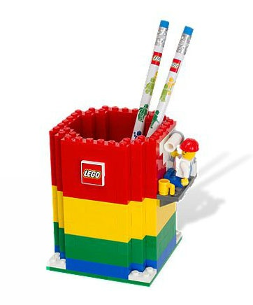 Child's Study Space with a Cute Lego Pencil Holder