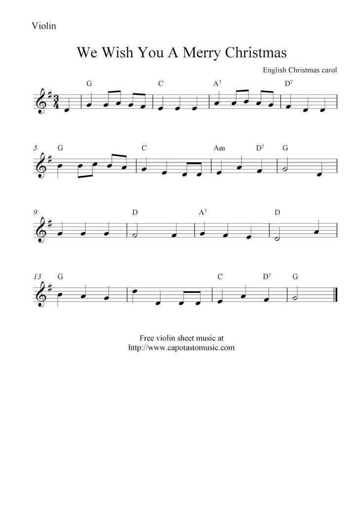 sheet music violin | We Wish You A Merry Christmas, free Christmas violin sheet music notes ...