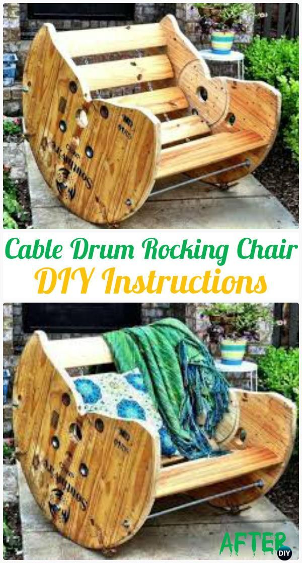 DIY Cable Spool Rocking Chair Instruction - Wood Wire Spool Recycle Ideas
