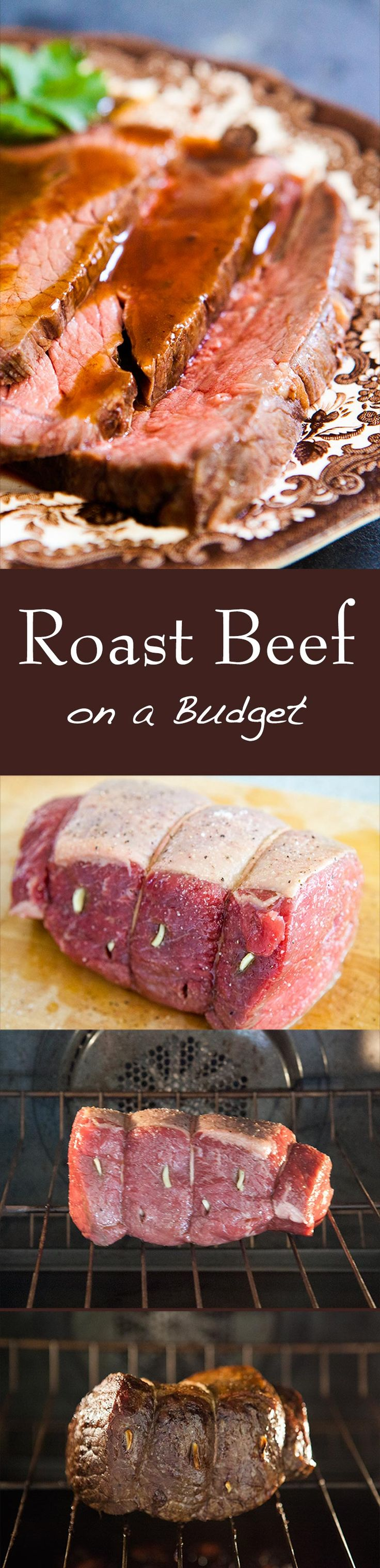 Classic roast beef recipe using rump roast, round roast, or sirloin tip. Slow roasting method at low heat is good for tougher, less expensive cuts of beef! Lower heat prevents gristle from getting too tough. EASY to cook and easy on the budget! On SimplyRecipes.com