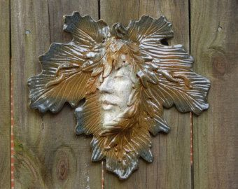 Ceramic Green Woman Leaf Art Wall Or Garden Hanging Pottery Mask Sculpture
