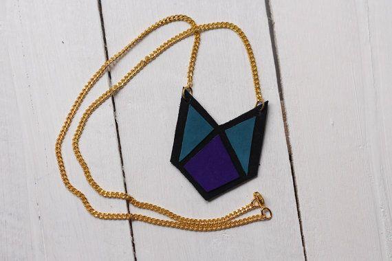 Collier en cuir géométrique chevron et par morningboutique sur Etsy