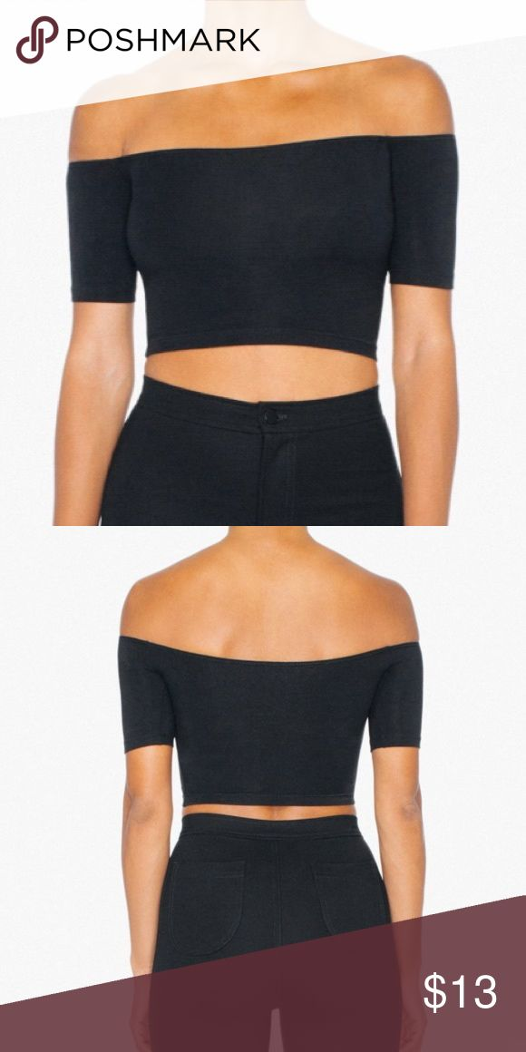 American Apparel Off Shoulder Crop Top American Apparel black cropped off the shoulder top. Size XS. Spandex material, but still runs on the smaller side. Unfortunately, a bit too small for me. Excellent condition. American Apparel Tops Crop Tops