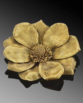 22K Textured Yellow Gold Flower Brooch by Zolotas, circa 1970s