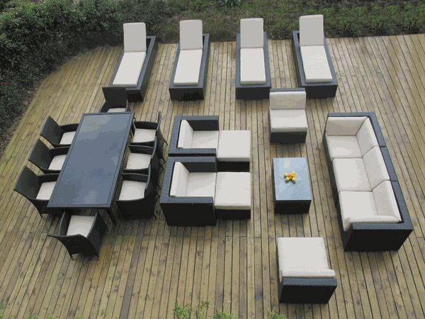 23 Piece   Ohana Patio Wicker Furniture Couch Set, Dining Set And Chaise  Lounge Combination