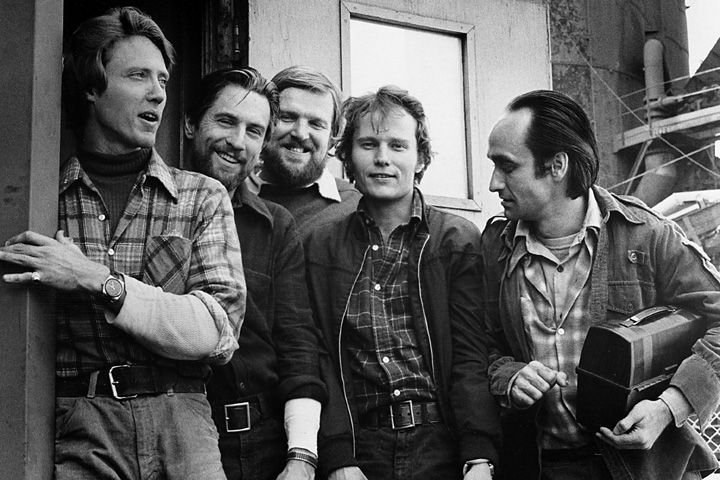 """The Deer Hunter"" [1978], Christopher Walken, Robert De Niro, Chuck Aspegren, John Savage, John Cazale. Photo courtesy of the Everett Collection."