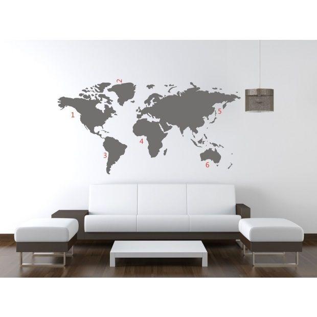 World Map Muursticker - Grijs - afbeelding 1