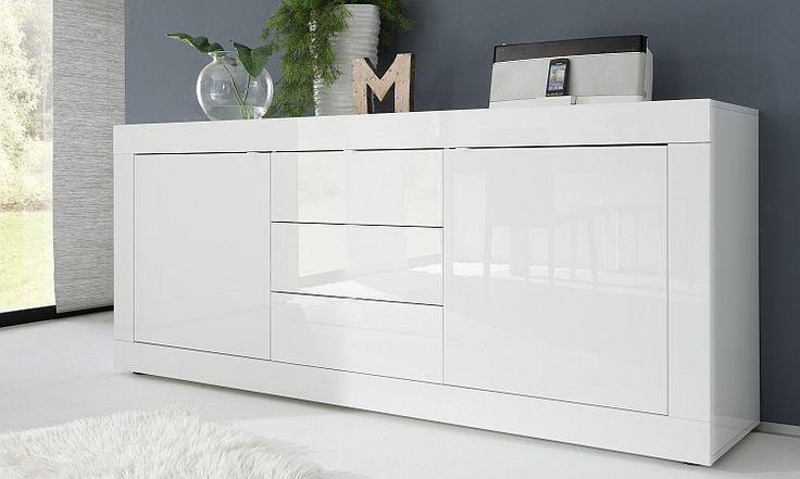 Madia moderna bianco laccato lucido con 2 ante 3 cassetti