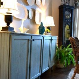 DIY sideboard using stock cabinets (idea originally from This Old House)