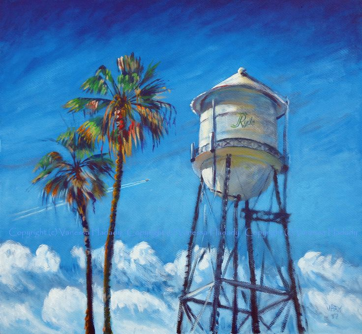 ticket (water tower, Ryde, Calif.), acrylic/gessoed board, 34 x 30.5 in.  GalleryPreviewOnLine.com  Copyright (c) Vanessa Hadady