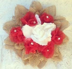Rustic bridal shower, red bridal shower, brides corsage, hobby lobby, burlap flower