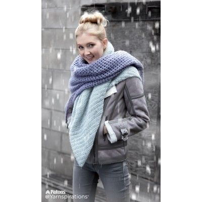 Free Easy Crochet Scarf Pattern   Featuring two contrasting crochet stitches and two contrasting colors, this Patons Lace scarf is the best of both worlds!