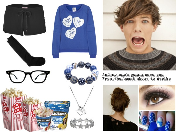 """""""Watching scary movies with Louis!"""" by a-willenbockel ❤ liked on Polyvore"""