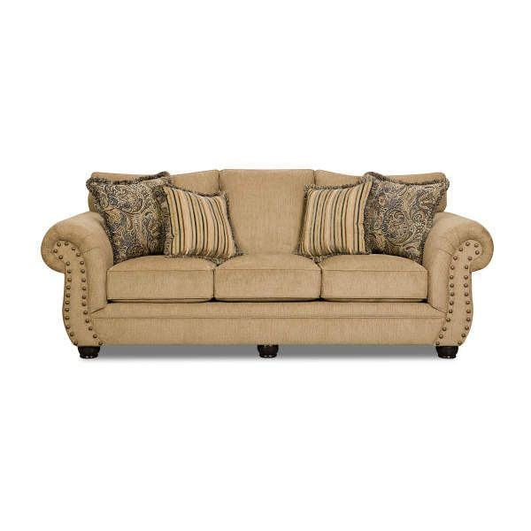 Simmons Morgan Antique Memory Foam Sofa ❤ liked on Polyvore featuring home, furniture, sofas, simmons couch, simmons, antique furniture, antique couch and simmons furniture