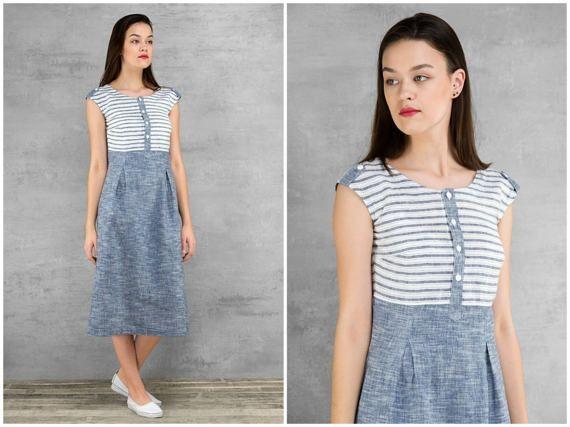 Linen Dresses for Women * Nautical Summer Dress * Blue Striped Linen Clothing / Clothes * Midi Flax Linen Button Up Dress * Summer Fashion