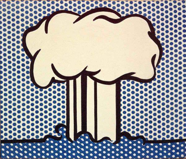 Reproduction de Roy Lichtenstein, Atomic landscape (Paysage atomique). Tableau peint à la main dans nos ateliers. Peinture à l'huile sur toile.