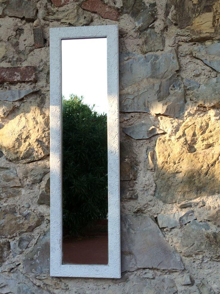 specchio rettangolare con cornice bianca klimt di