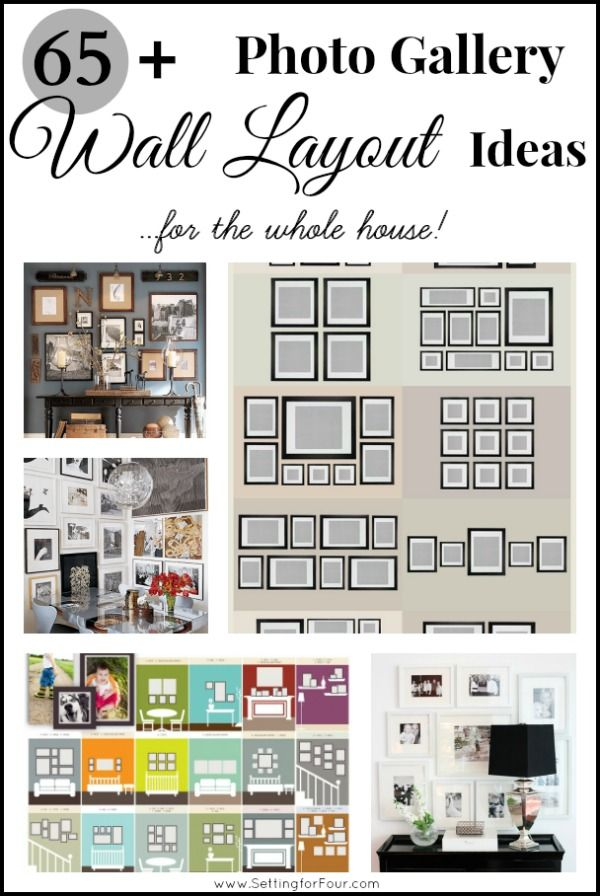 65 Plus Photo Gallery Wall Layout Ideas - get lots of ideas for different sizes and layout combinations!