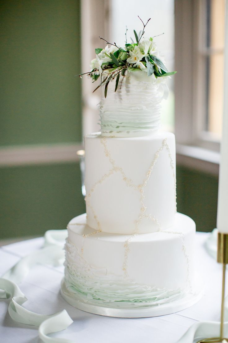 Adding a subtle hint of green into your wedding cake, following the Pantone trend of the year 2017 'greenery' Cake by The Custom Cake Boutique. Photography - PHILIPPA SIAN PHOTOGRAPHY Venue - AUDLEY END HOUSE Videography - ASH VIDEOGRAPHY Styling and Coordination - FLEUR & FIG Bridalwear - JESSICA TURNER DESIGNS Bridal Shoes - EMMY LONDON Flowers - VIOLETS AND VELVET Cake - THE CUSTOM CAKE BOUTIQUE Linen, Tables, Chairs, Plates - THE EVENT HIRE COMPANY Cutlery & Glasswear - CLASSIC CROCKERY…