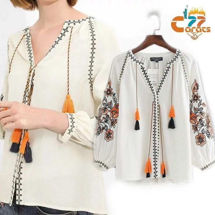 Vtg 70S Mexican Floral Embroidered Boho Ethnic Hippie Festival Blouse Top Shirt
