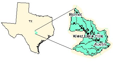 Surf water basin, Texas.  Not particularly nice to look at, but I like the concept of the blown-up detail of the larger area, particularly for the map I'm doing with WV's coal:impaired stream correlation