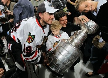 Cristobal Huet is another player who was lucky enough to win a Stanley Cup without doing much to actually earn it.  The French goaltender lost the starting goaltending job in Chicago before the 2010 playoffs got under way. Huet played all of 20 minutes in the 2010 postseason for the Blackhawks but can be seen here celebrating with the Stanley Cup just the same.