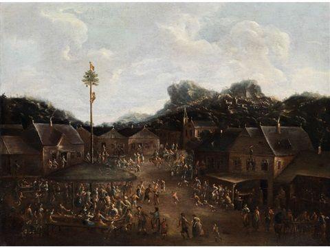 Artiste : Attribué à Pieter Bout (flamand, 1658 - 1719) Titre : Bauernfest mit reicher Figurenstaffage