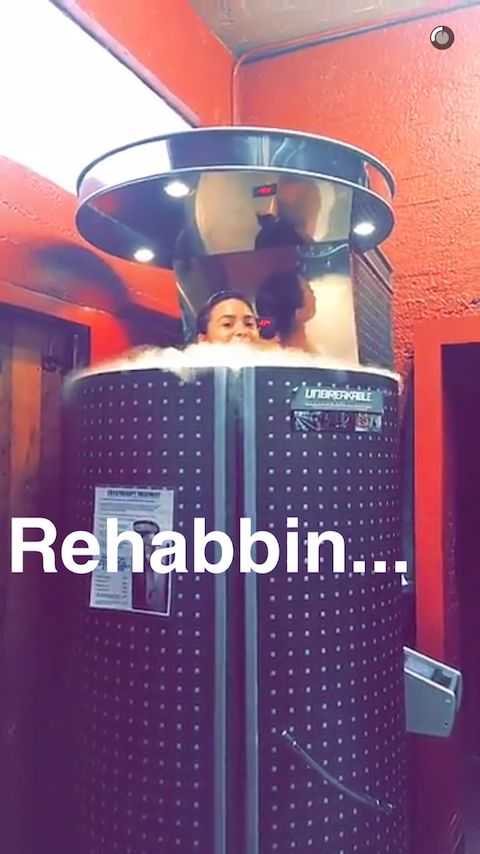 """DEMI LOVATO'S POST-WORKOUT TREATMENT  If you follow Demi Lovato on social media, you know that the singer has been posting videos and snaps of her grueling workouts that would motivate anyone to hit the gym.  Apparently, to help her body recover, Lovato prefers cryotherapy. The singer posted a photo of her on Snapchat in a cryosauna that she captioned """"rehabbin."""" This is a basically a chamber filled with liquid nitrogen where temperatures can drop to -290 Fahrenheit (no, we're not joking)."""