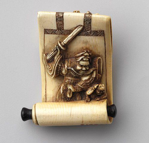 Netsuke: Hanging scroll with image of Shôki and demons, 19th century  Japanese ~ Ivory