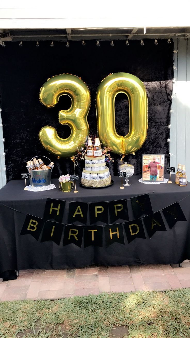 30th birthday party ideas, men black and gold party, beer