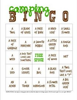 Camping Bingo -- what if we passed this out registration day for kids and parent to do, exploring and familiarizing themselves with camp.