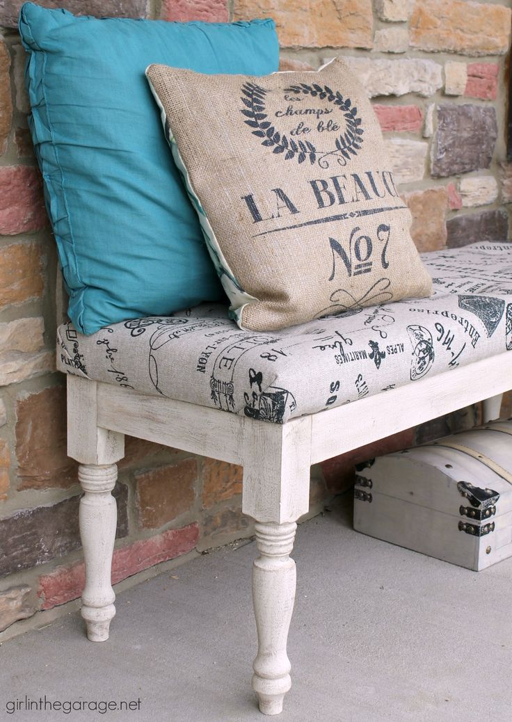 DIY Bench Makeover - tufted and reupholstered, with new frame and legs. By Girl…