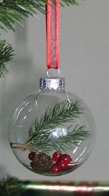 Glass Ball Ornaments filled with nature - I want to make these! #indigo #MagicalHoliday