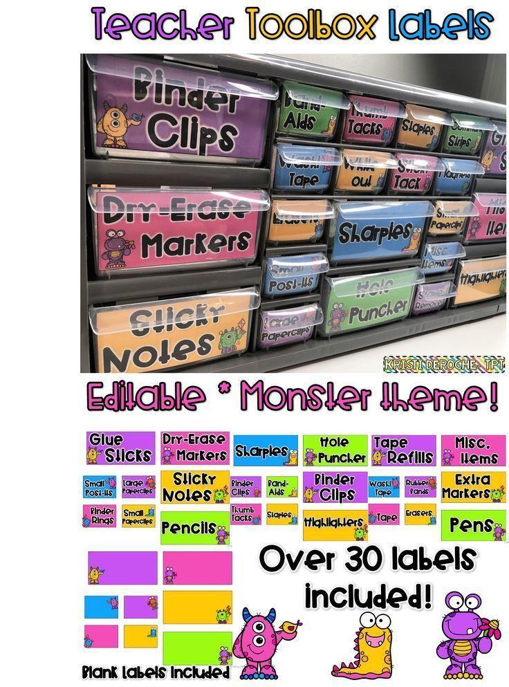 Teacher Toolbox Labels Monster theme! Editable! Monster theme classroom!