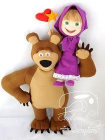 Apostila Digital Masha e o Urso   Com moldes e passo a passo   Urso com 50cm e a Masha com 30cm   Confeccionados em feltro  Envio por e...