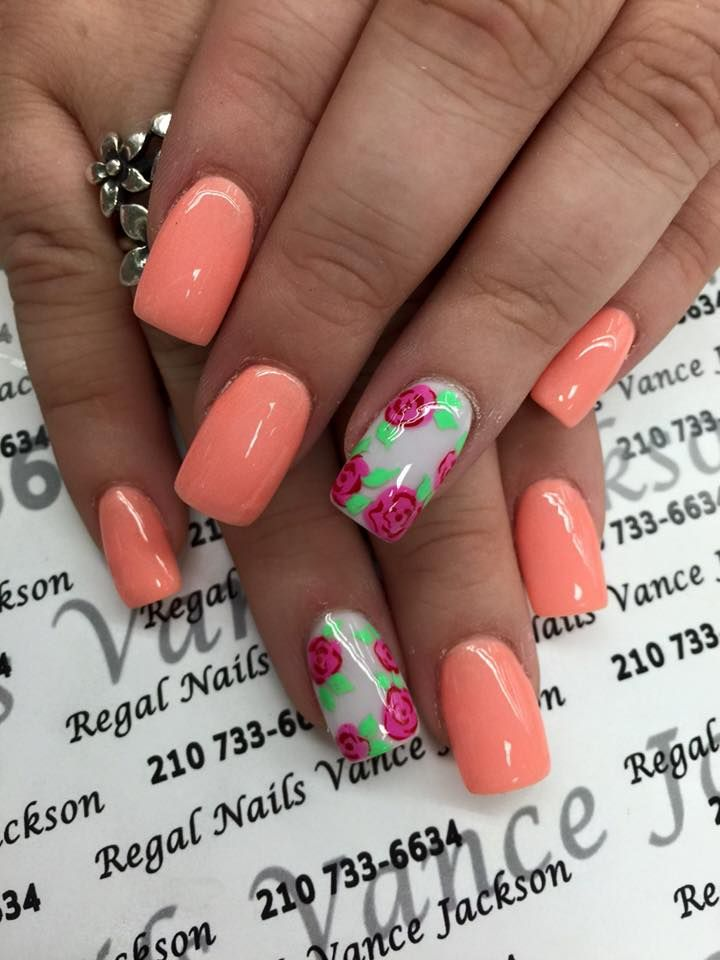 floral print nail art, flower nail art, peach manicure, square shape nails, - 25+ Trending Peach Nail Art Ideas On Pinterest Coral Nails