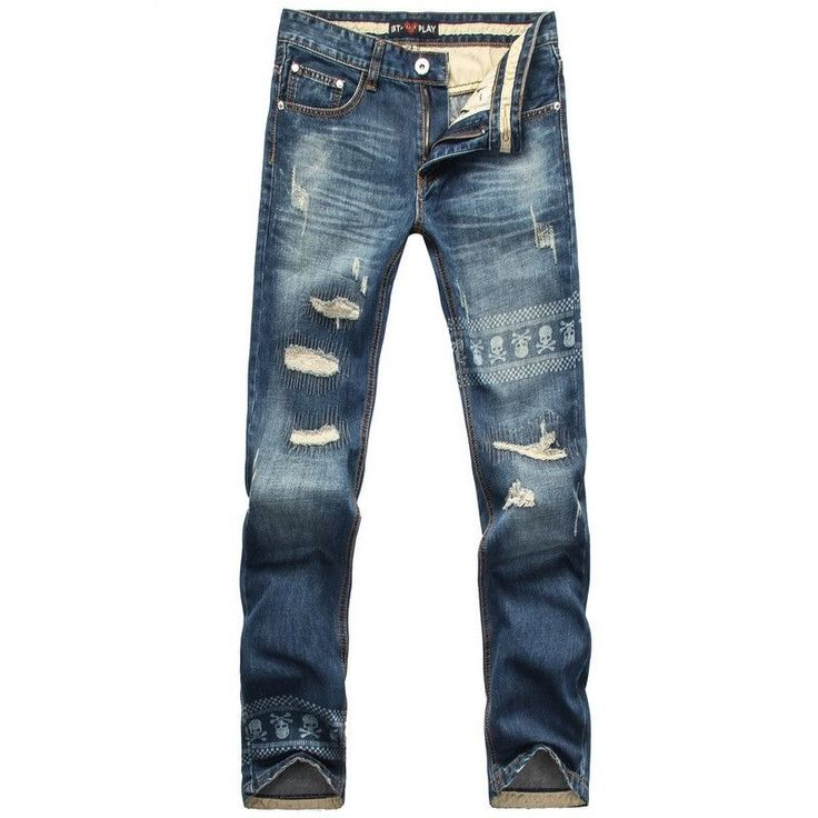 Men Printed Jeans, Slim Fit Ripped Jeans, Casual Street Style Size 28 - 36