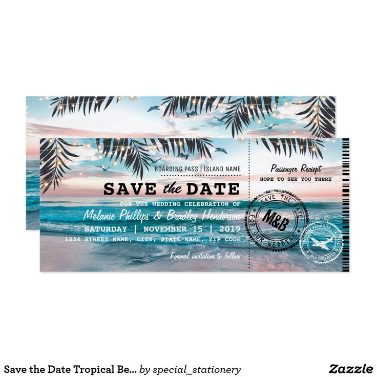 103 best budget beach wedding invitations images on pinterest save the date tropical beach lights boarding pass card stopboris Choice Image