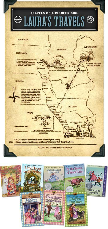 Map of Laura Ingalls Wilder's travels #lhotp #lhop #lauraingallswilder