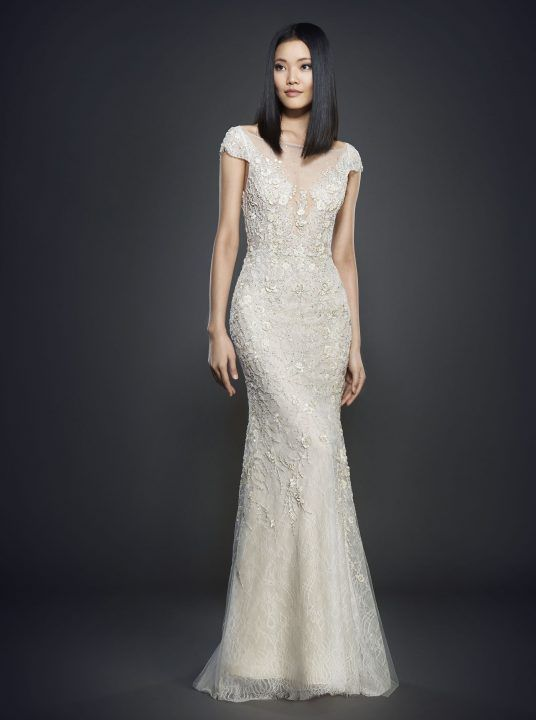 Lazaro Spring 2017 Style 3702 Ivory Hand Beaded And Embroidered Net Over Chantilly Lace Slip Bridal Gown Sheer Bateau Neckline With V Back