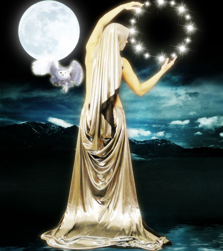 Arianrhod, the Celtic moon goddess whose name means 'silver wheel', rules over a magical realm called Caer Sidi. She can shapeshift into a large silver owl, and uses this form to observe mortal life. It is said that through her large, owl eyes, she can see into the debts of the human soul.                                                                                                                                                                                 More
