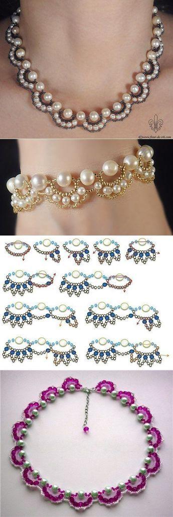 El esquema del tejido del collar o la pulsera con las cuentas bajo las perlas