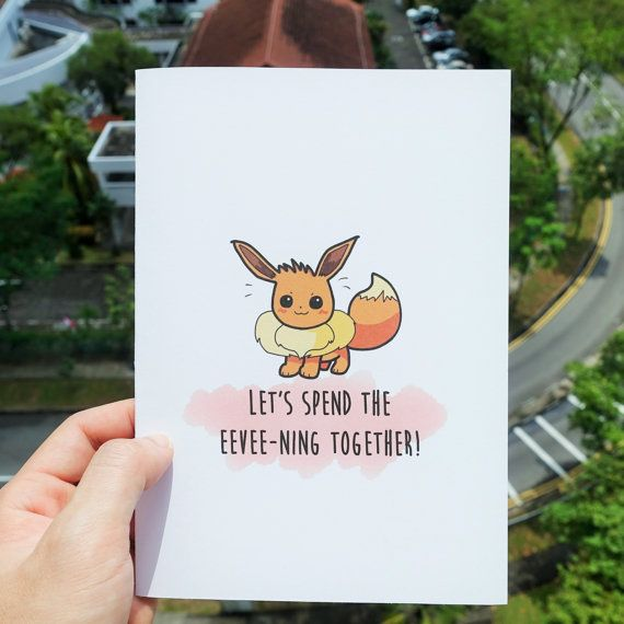 Pokemon greeting card Evoli from madaboutcards on Etsy