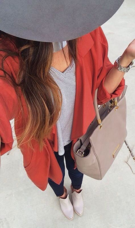 #fall #outfits / orange coat + booties