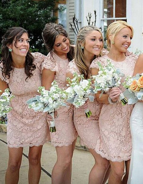 Lace Bridesmaid Dresses,Sexy Bridesmaid Dress,Sheath Crew Neck Bridesmaid Dress,Mini Pink Bridesmaid Dress,Cap Sleeves Bridesmaid Dress