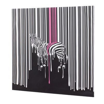 Take your room on a contemporary safari with this zebra artwork. The hand painted embellishment over the high quality giclee canvas almost looks like its dripping off your wall.