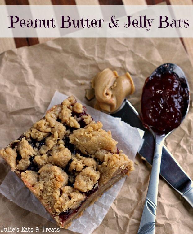 Peanut Butter & Jelly Bars ~ An American Classic ~ How can you not love them? via www.julieseatsandtreats.com #recipe